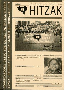 Portada del primer número de Bake Hitzak-Palabras de Paz
